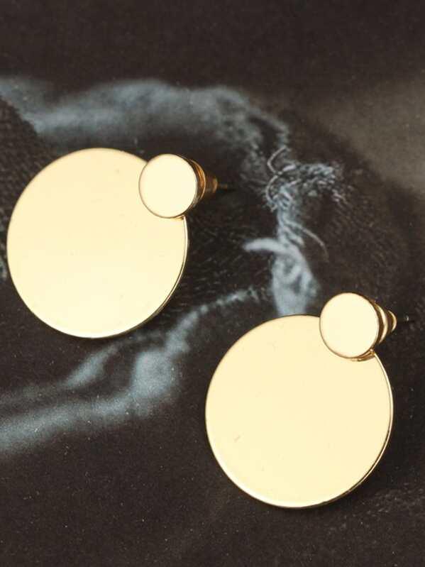 65a04c742 Flat Disc Design Stud Earrings 1pair   SHEIN