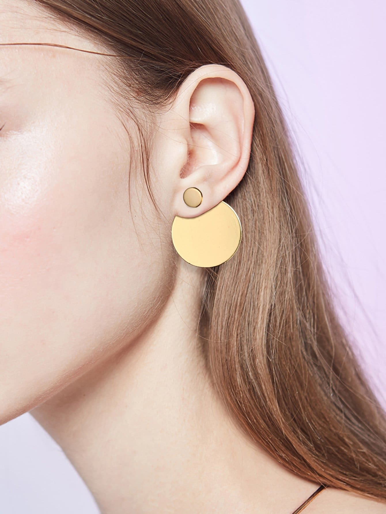 leather fullxfull il and minimalist stud gift for post circle golden flat gold disc large listing modern earrings big her
