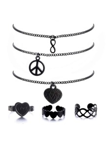 Hollow Detail Necklace And Ring Set 6pcs