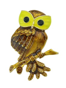 Yellow Owl Brooch