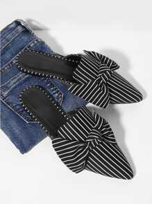 Bow Tie Striped Flat Mules
