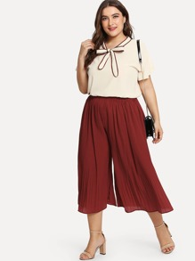Plus Knot Front Flounce Sleeve Top With Pants