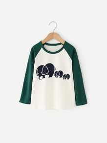 Toddler Boys Contrast Raglan Sleeve Cartoon Print Tee