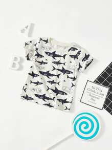 Toddler Boys Cartoon Shark Print Tee