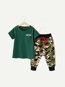 Boys Patch Detail Tee With Camo Sweatpants