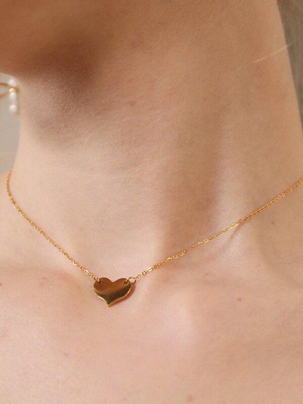68cd4437de Mini Heart Pendant Chain Necklace | SHEIN IN