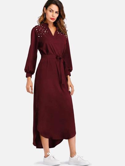 b6a1fd0aa6e Curved Hem Pearl Beaded Self Tie Waist Dress