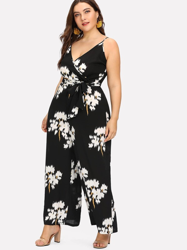 b38590f5672 Plus Belted Floral Wrap Cami Jumpsuit