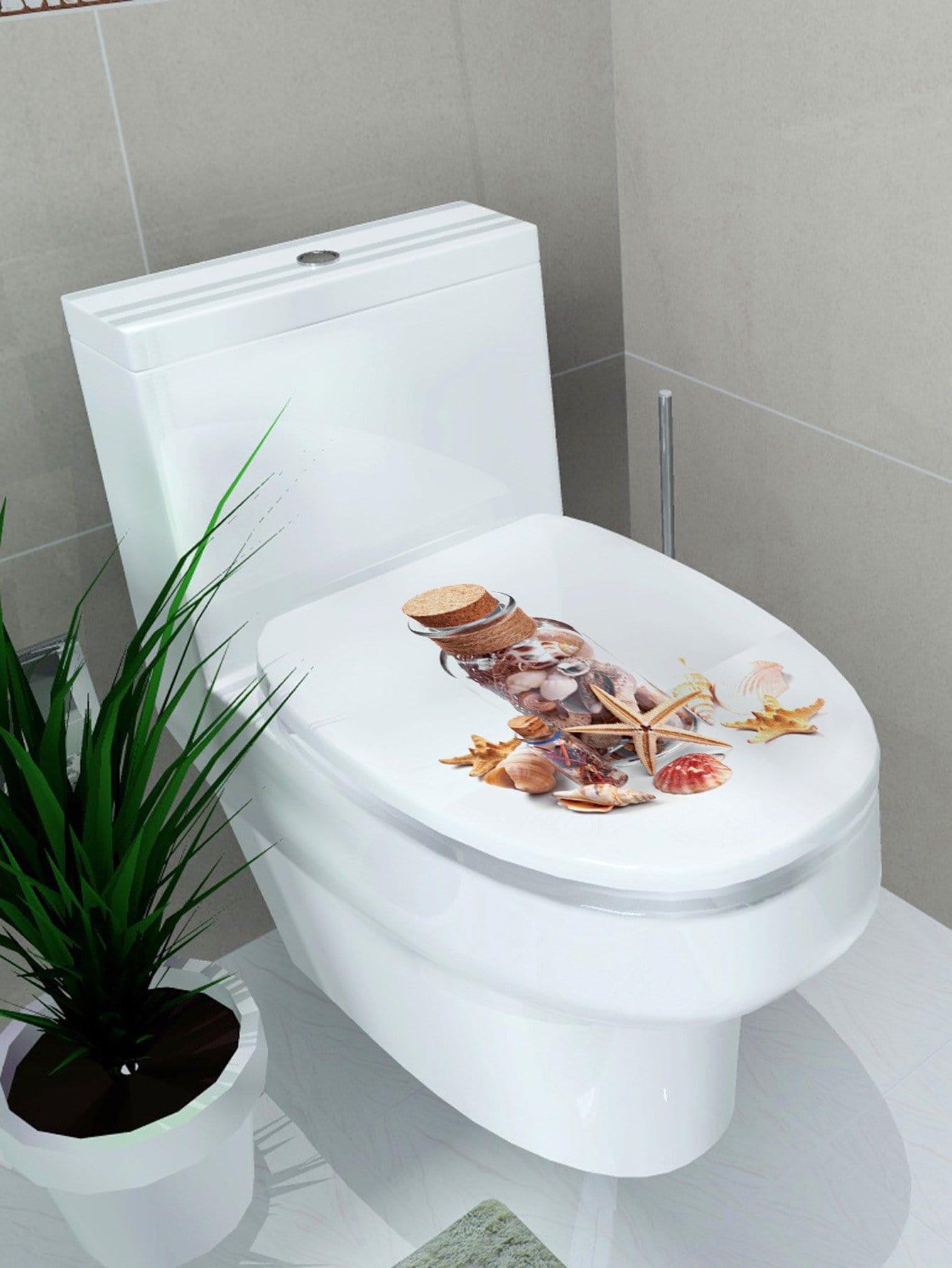 autocollant de couvercle de toilette imprim coquille french romwe. Black Bedroom Furniture Sets. Home Design Ideas