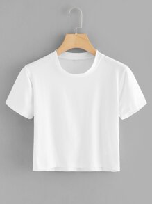 Round Neck Basic Crop Tee