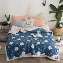 Allover Flower Print Solid Quilt