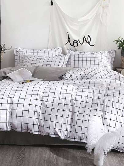 Charmant Allover Grid Print Sheet Set