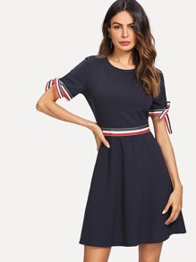 Striped Tape Knot Cuff Flare Dress