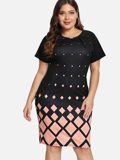 5d1940728c6 Plus Lace Contrast Sleeve Hanky Hem DressFor Women-romwe