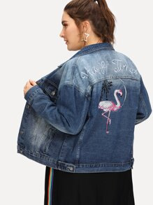 Plus Flamingo and Letter Embroidered Bleach Wash Denim Jacket