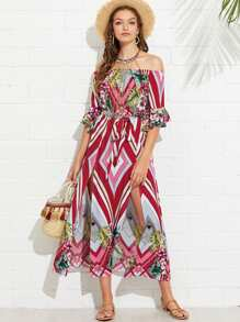 Flounce Sleeve Mixed Print Bardot Dress