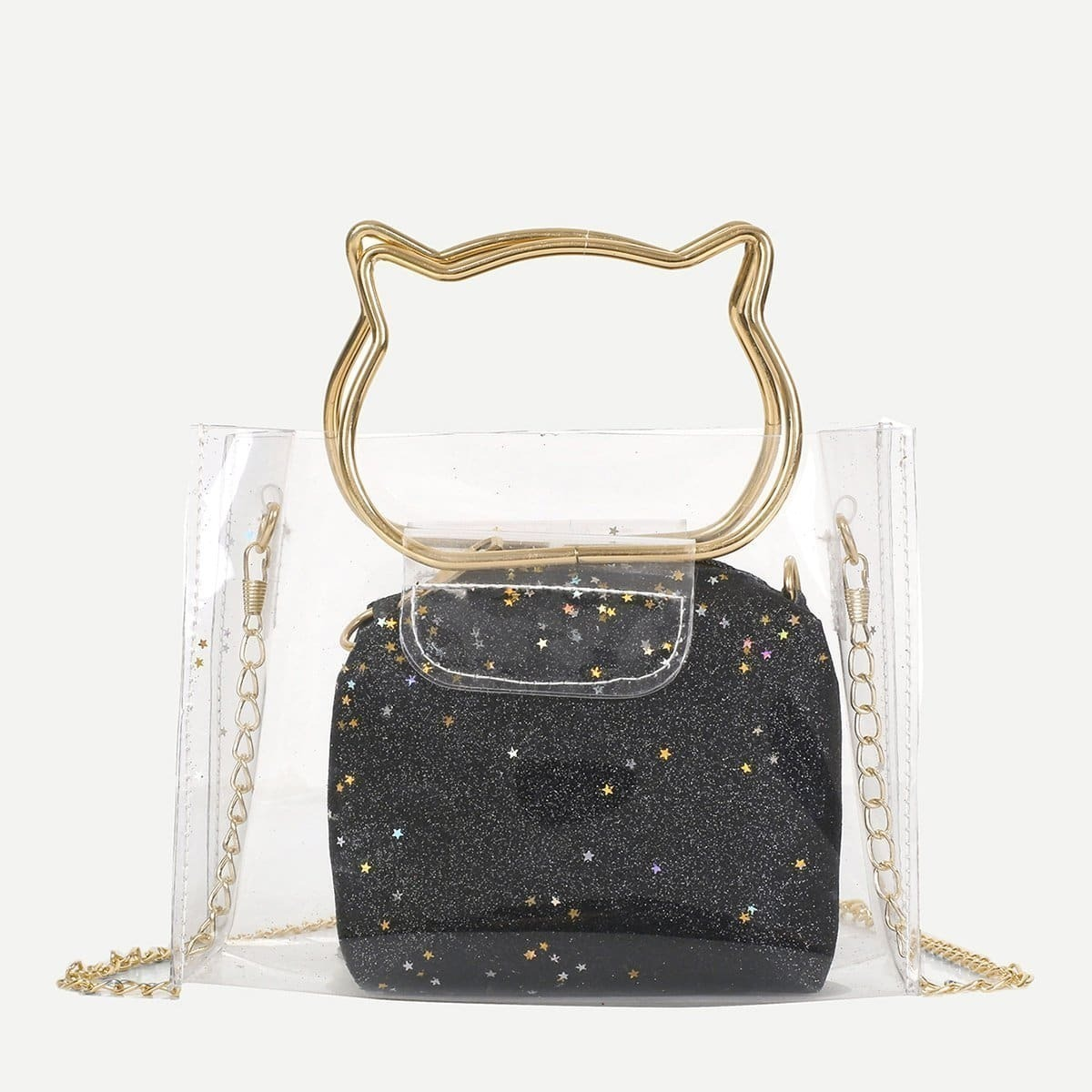 - Clear PVC Bag With Glitter Inner Pouch