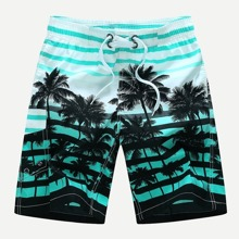 Men Striped And Tropical Print Beach Shorts