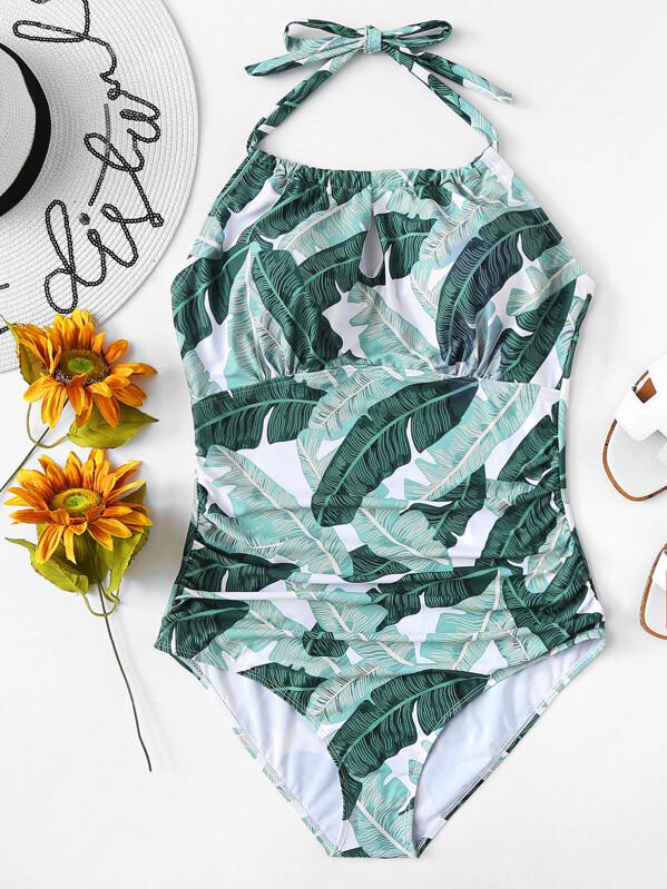 c8ba5063de Plus Jungle Print Ruched One Piece Swimsuit   SHEIN