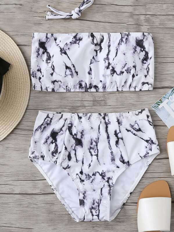 580c1c35f2 Marble Print Bandeau With High Waist Bikini Set | SHEIN