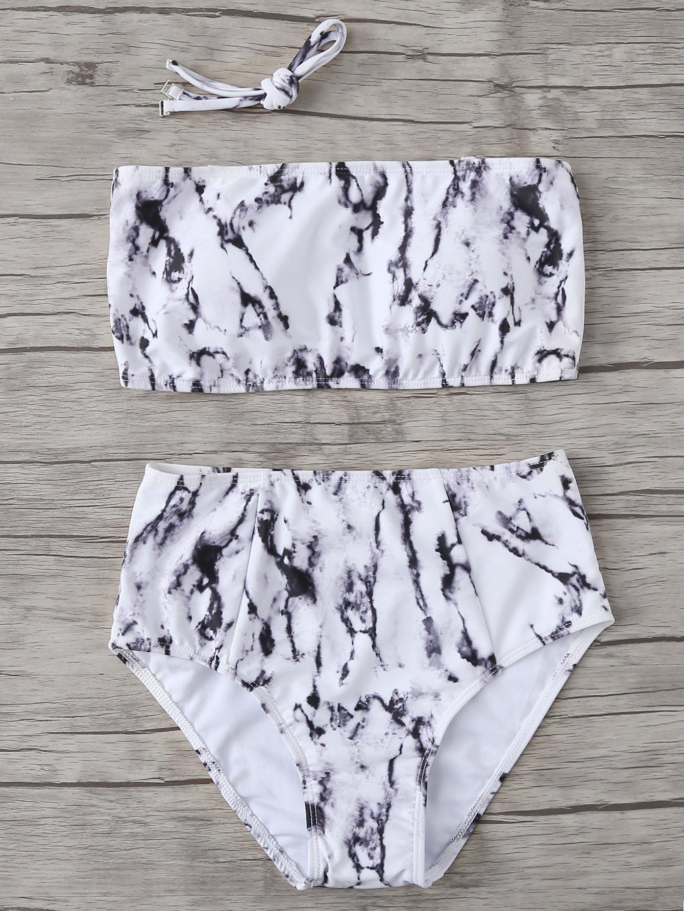 Set de bikini con estampado de mármol -Spanish Romwe