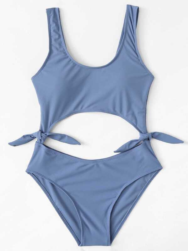 f75011c89cd Knot Side Cut Out One Piece Swimsuit | SHEIN