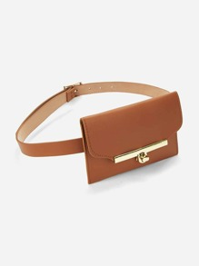 Metal Buckle Belt With Detachable Bag