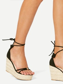 Lace Up Espadrille Wedges