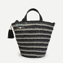 Straw Tote Bag With Tassel