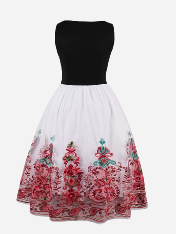 78179ab3c Cheap Flower Embroidered Mesh Overlay Combo Dress for sale Australia | SHEIN