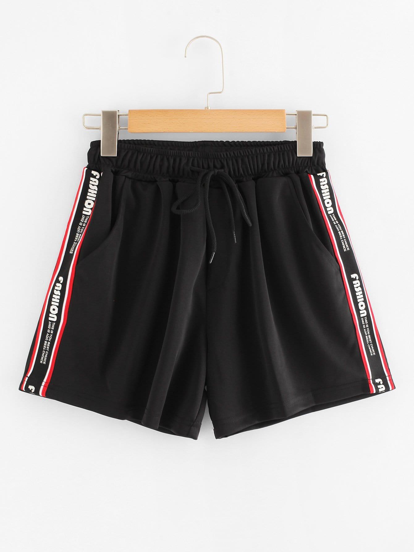 Shorts con cinta con estampado de letras -Spanish Romwe