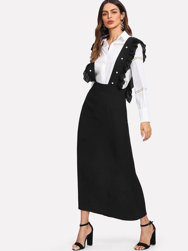 5fd43f42d86 Pearl Beaded Detail Ruffle Trim Pinafore Dress