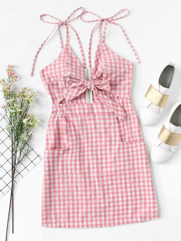 06ad3557e4 Tie Shoulder Knot Front Gingham Dress | SHEIN UK