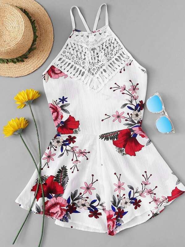 084dd98d456d8d Cheap Hollow Crochet Lace Panel Floral Print Jumpsuit for sale Australia |  SHEIN