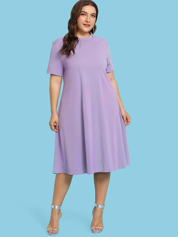 d386eec076b8 Plus Mock Neck Solid Tunic Dress | SHEIN