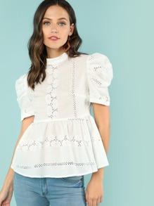 Eyelet Embroidered Ruffle Top