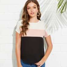 SHEIN | Cut And Sew Curved Hem Top | Goxip