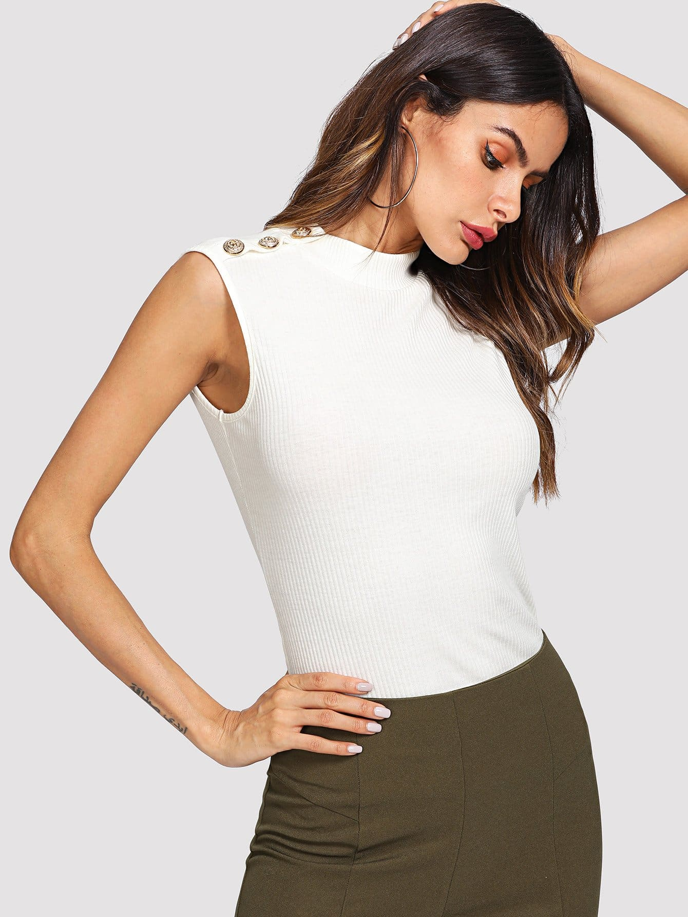 Gold Button Shoulder Ribbed Top