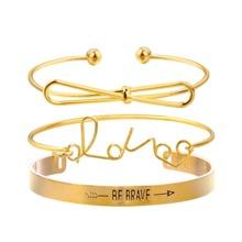 Bow & Letter Detail Bracelets Set 3pcs