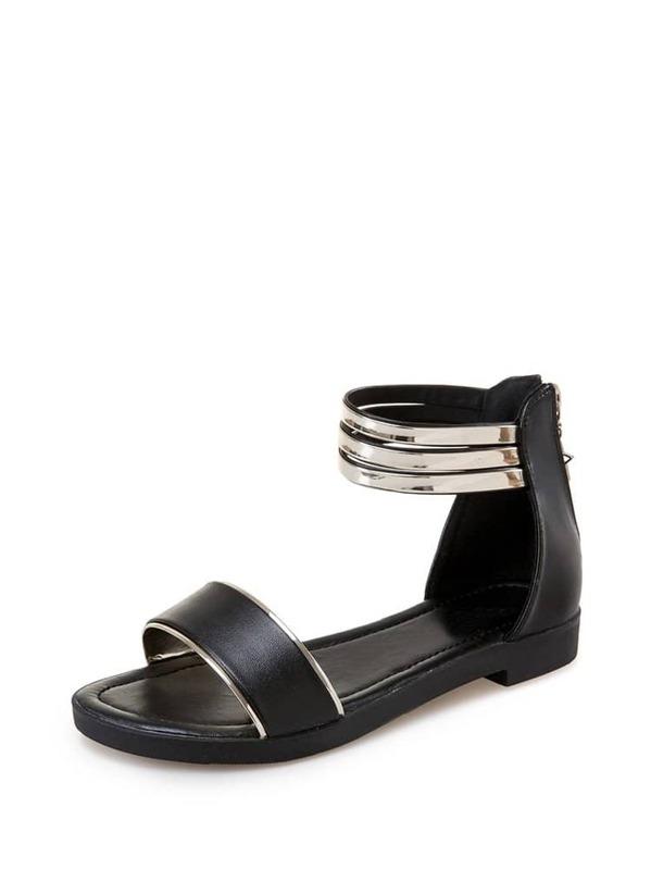21f130bce Metallic Detail Ankle Cuff Sandals