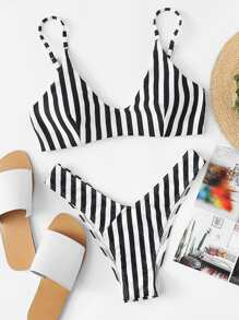 Striped Top With High Leg Bikini Set