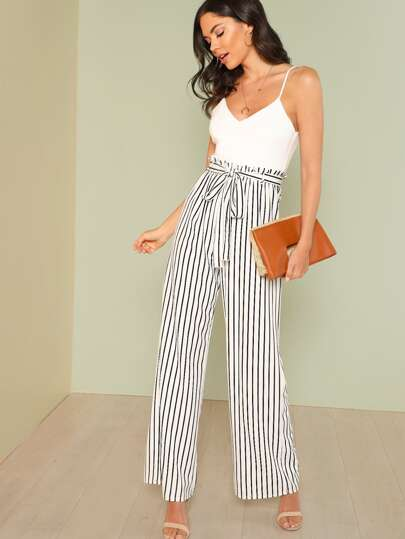 be90bfda326f Pinstripe Wide Leg Jumpsuit with Tie Waist