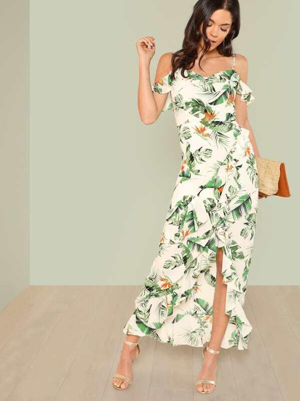 bd58cab7ebe Tropical Print Cold Shoulder Ruffle Maxi Dress