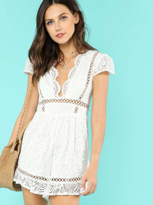 c69099c5ff12 Lace Overlay Romper with Plunging Neckline