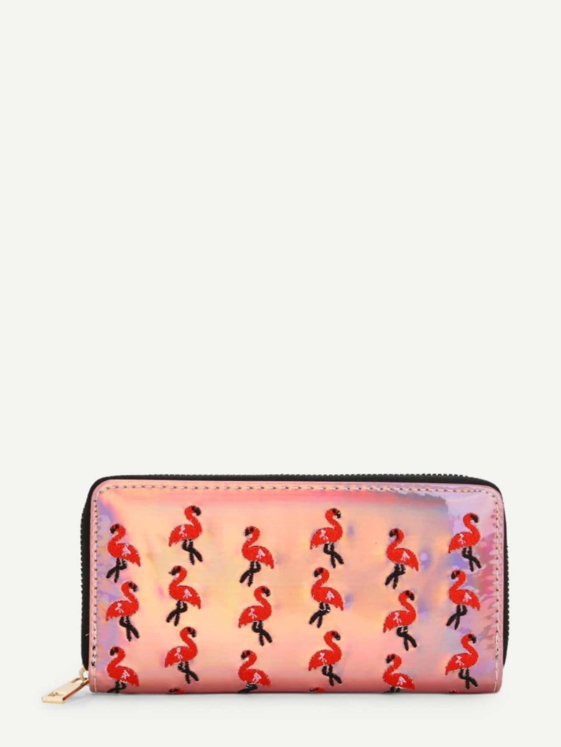 Embroidered Flamingo Overlay Wallet, Pink