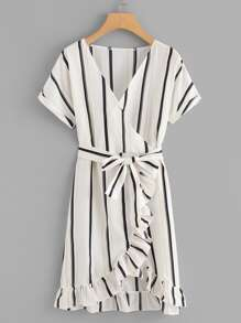 Ruffle Trim Striped Self Tie Waist Dress