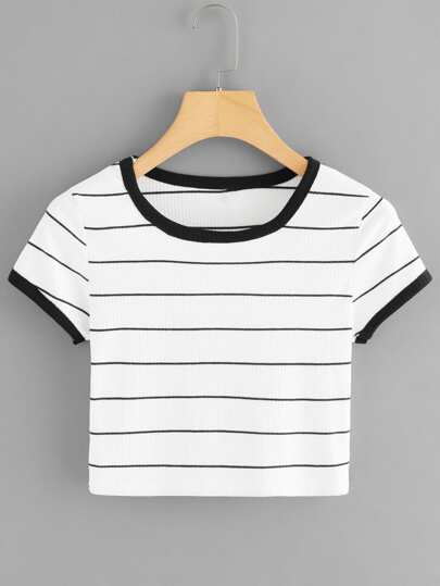 Striped Ribbed Ringer Crop Tee