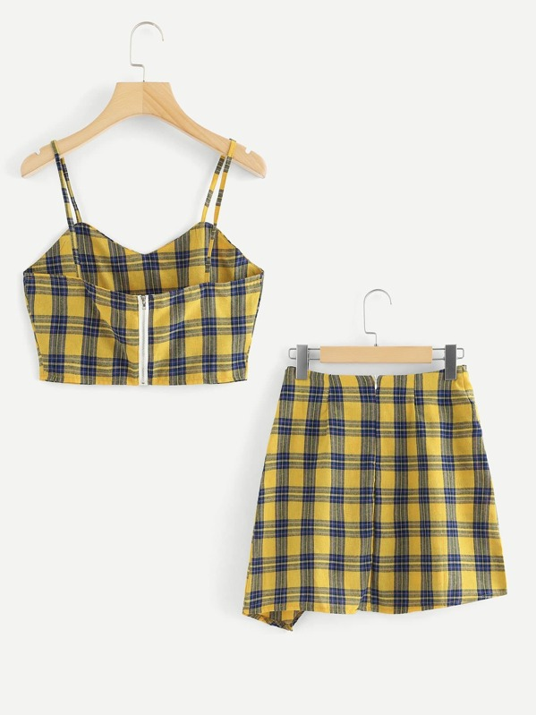 7c08a515c4 Checked Cami Top With Asymmetrical Hem Skirt | SHEIN