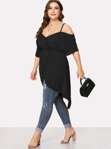 Plus Open Shoulder Split Hem Top
