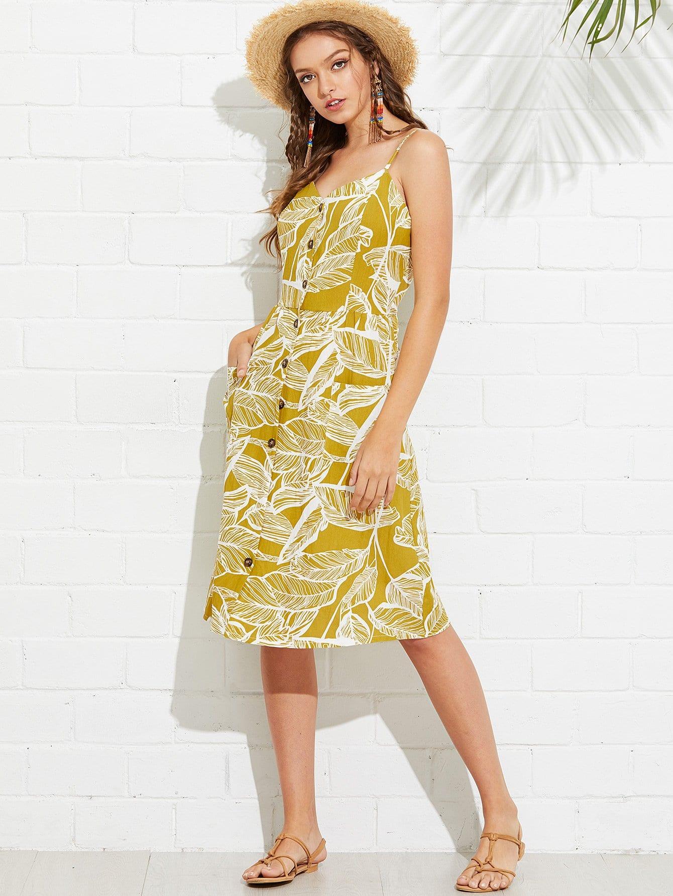 793f9ceb315 Tropical Print Button Through Cami Dress EmmaCloth-Women Fast ...
